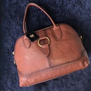 NWT: Frye Ring Dome in Cognac with gold accent pur